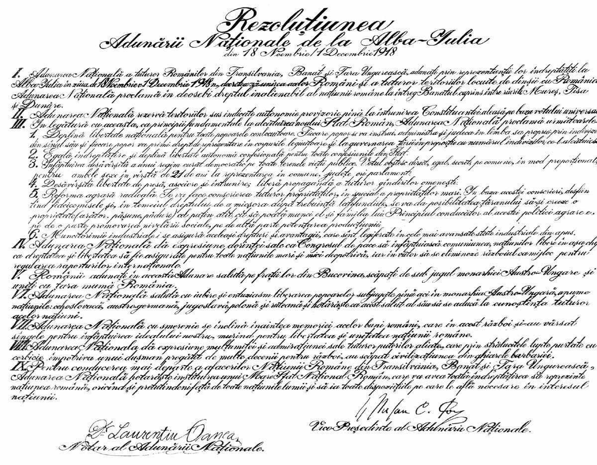 Rezoluţia Marii Adunări Naţionale